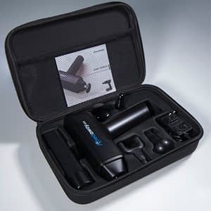 handheld muscle massager Achedaway Pro with carrying case 4 attachments the quieter massage gun ever built